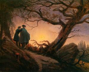 Deux hommes contemplant la lune, Caspar David Friedrich
